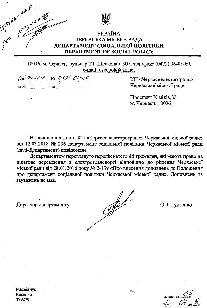 Пільги Черкасиелектротранс 2019 рік